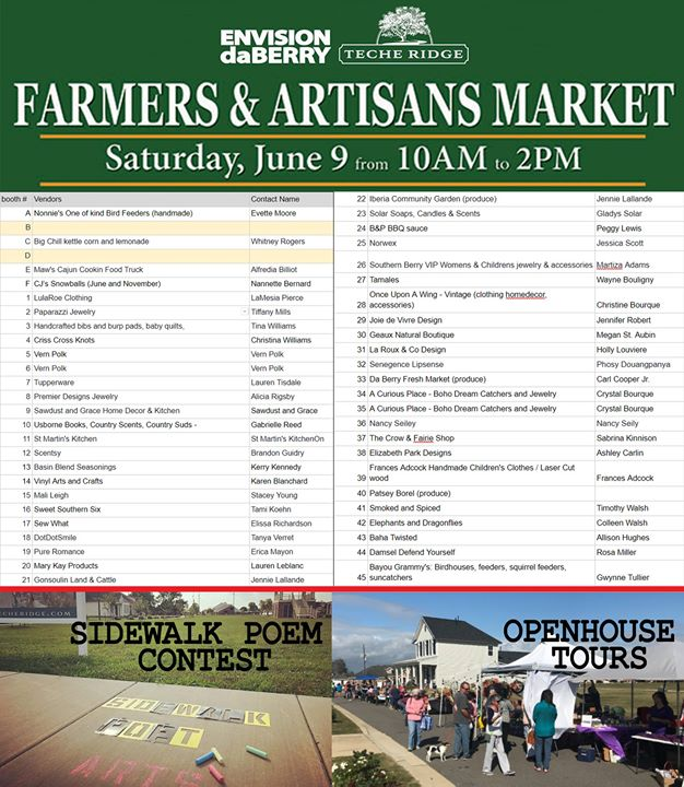 June 9th DaBerry Farmers Market at Teche Ridge is this Saturday. We'll have 45+ …