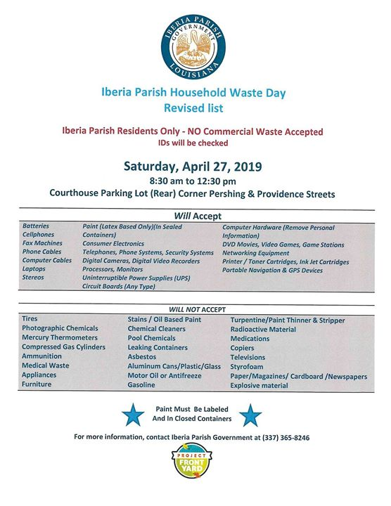 Household Waste Day will be on Saturday, April 27th this year, make sure to mark…